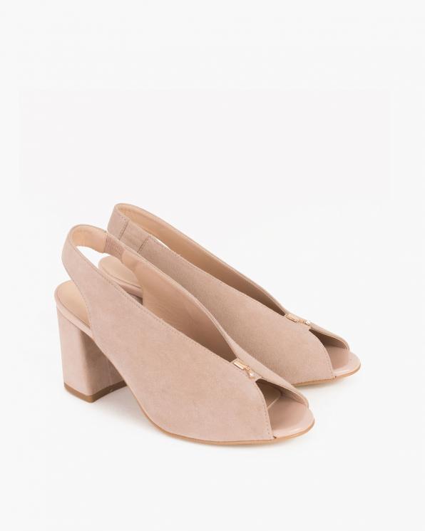 Beżowe sandały na słupku peep toe  024 -7908-041
