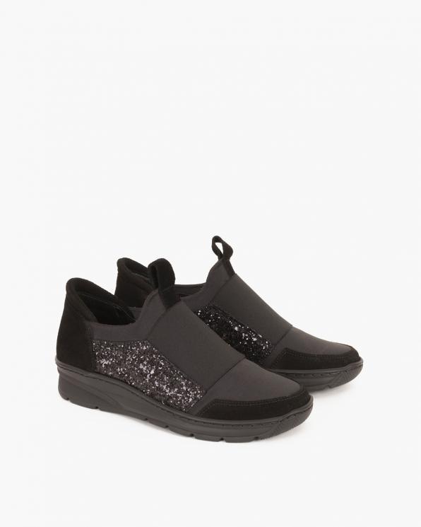Czarne sneakersy zamszowe z brokatem  046 -574-CZARNY