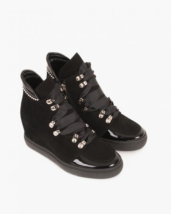 Czarne sneakersy welurowe  061 -23210Z-CZAR