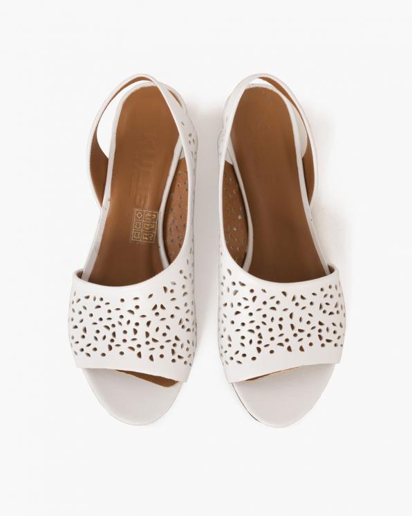 Białe sandały skórzane ażurowe  078 1455-BIAŁY
