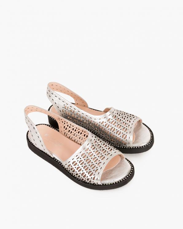 Srebrne sandały skórzane ażurowe  080 108-6001-160