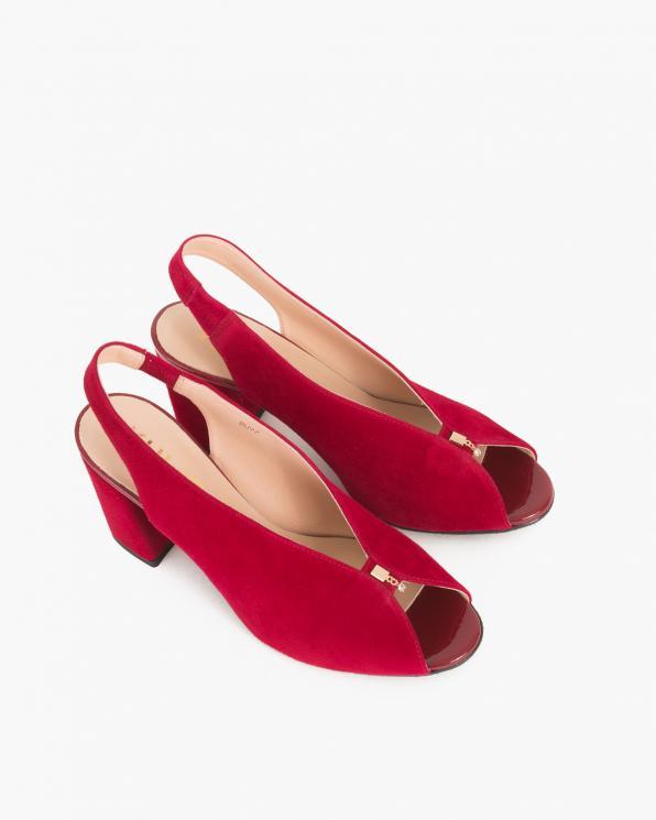 Czerwone sandały na słupku peep toe  024 -7908-2341