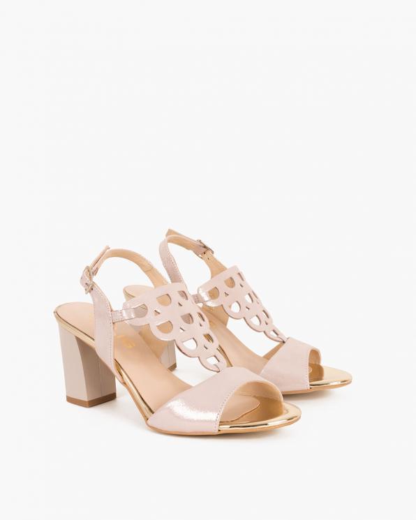 Pudrowe sandały skórzane na klocku  058 4963-A 89