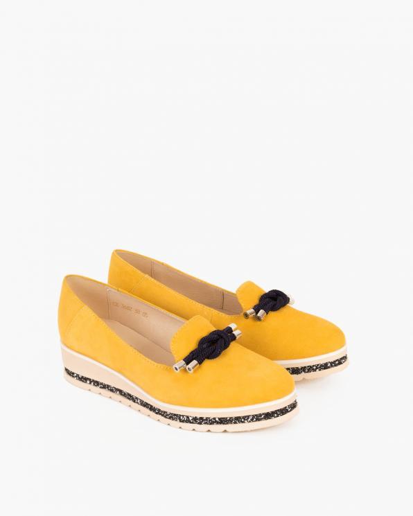 Żółte mokasyny welurowe z kokardą 058 2863-ŻÓŁTY