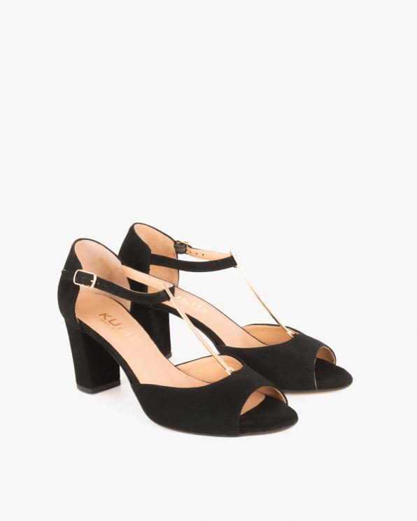 Czarne sandały zamszowe na słupku  061 5522N CZARNY