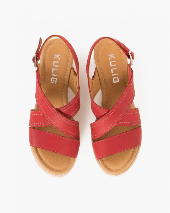 Czerwone sandały skórzane na koturnie  043 705-CZERWONY
