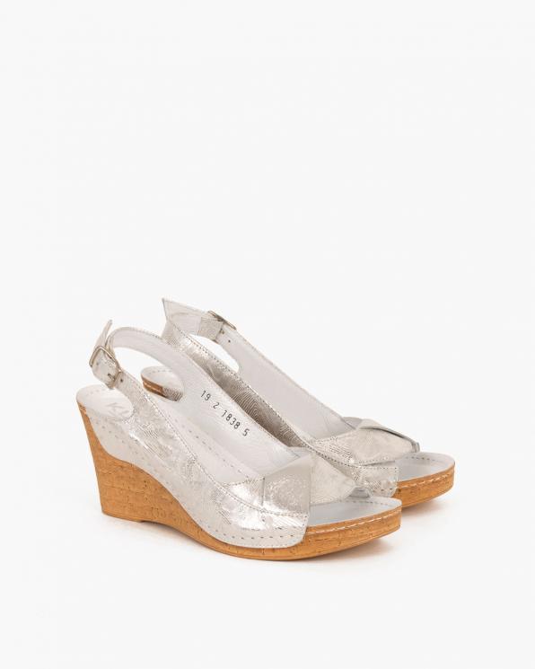 Srebrne sandały skórzane na koturnie  082 8381-SR ELMA
