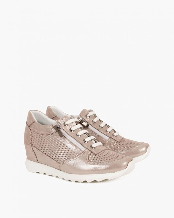 Srebrne sneakersy nubukowe  080 106-1 ZAMEK