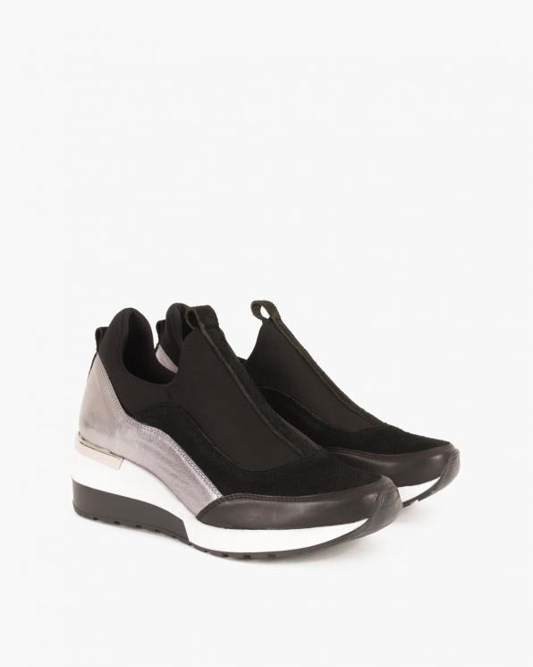 Czarno-srebrne sneakersy skórzane  092-903-CZ/SR