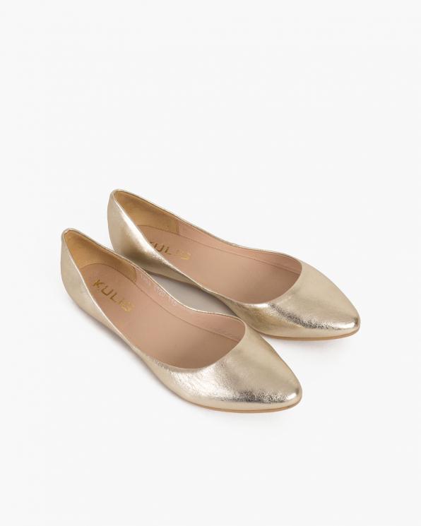 Złote baleriny skórzane  029-3531-56-ZŁOT