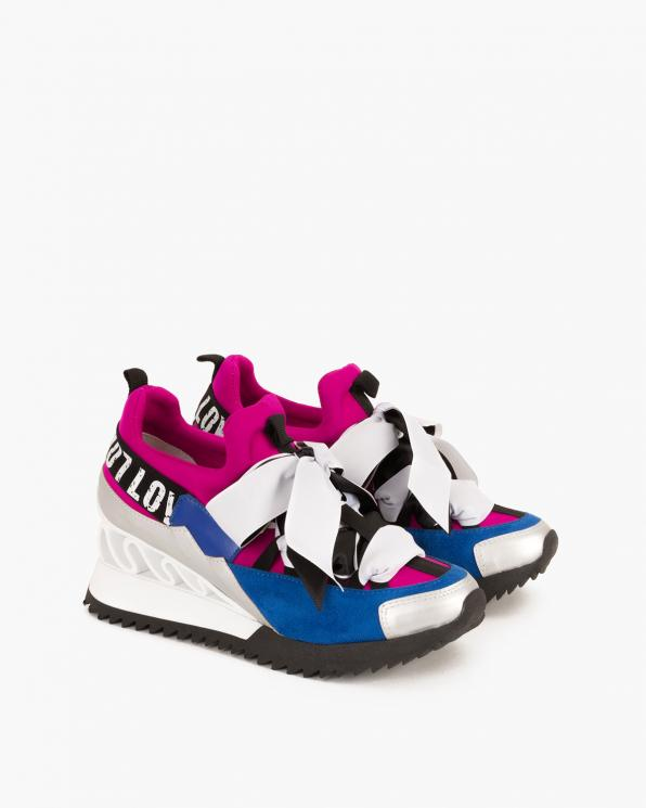 Fuksjowo-niebieskie sneakersy ze wstążką 083-88-FUKSJA