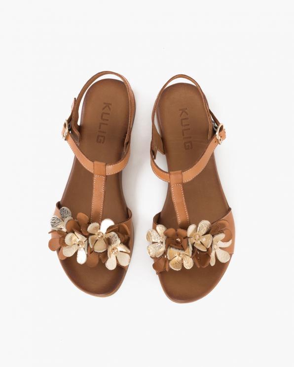 Karmelowe sandały damskie skórzane z kwiatami 078-2206-RUDY