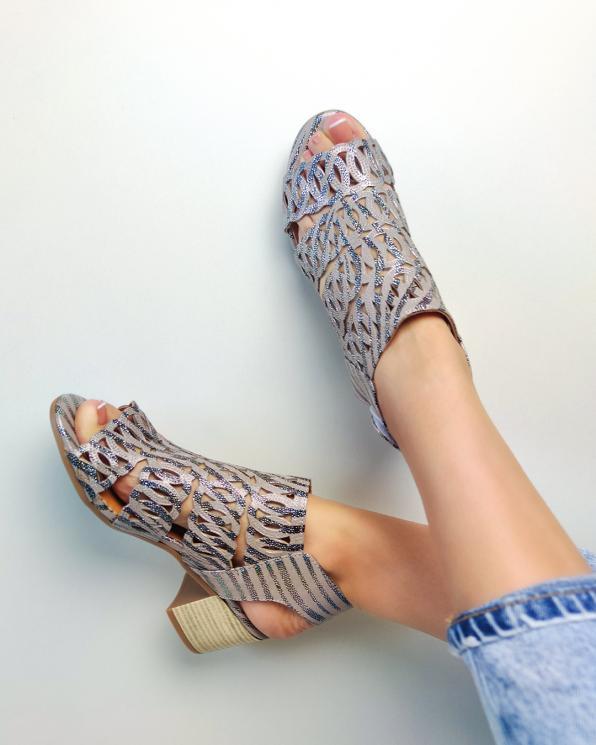 Beżowo-czarne sandały damskie nubukowe z brokatem  084-5452-MINK