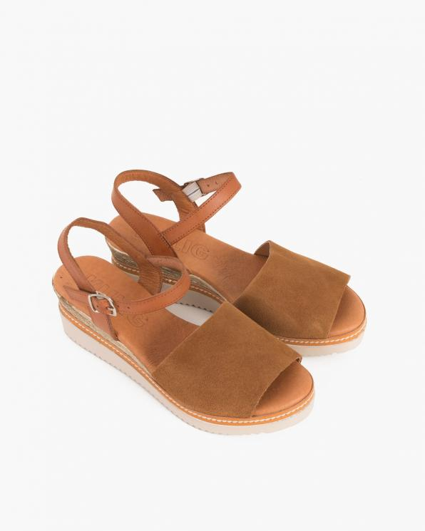 Brązowe sandały damskie nubukowe na koturnie  009-775-BRĄZ