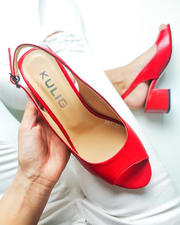 Czerwone sandały damskie skórzane na słupku  101-802-22