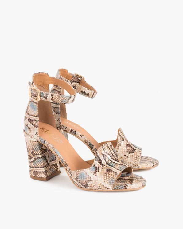 Wielokolorowe sandały damskie skórzane z motywem  076-1537-BEZ