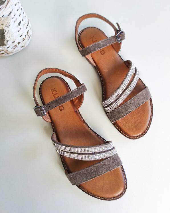 Ciemnobeżowe sandały damskie nubukowe z kryształkami  103-5250-VIZON