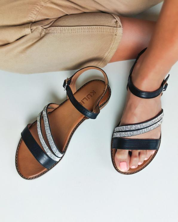 Czarne sandały damskie skórzane z kryształkami  103-5250-CZARNY
