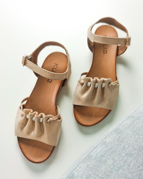 Złote sandały damskie nubukowe 103-122-ZŁOTY