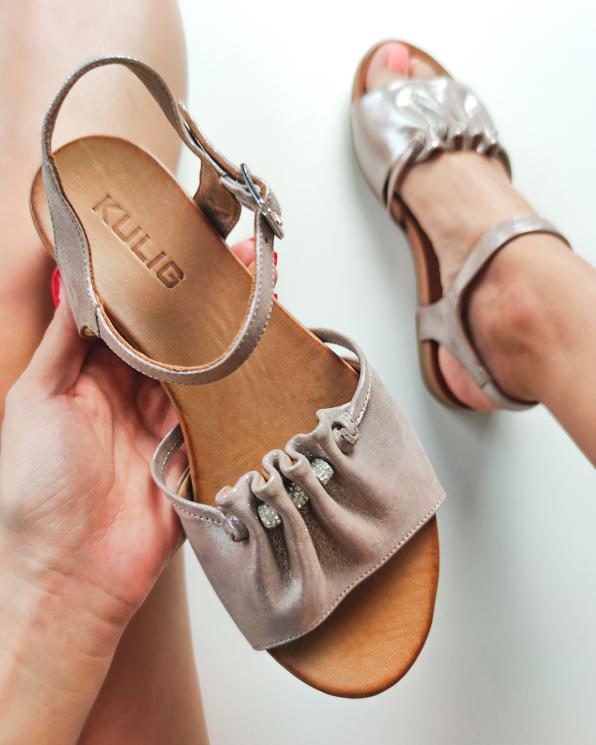 Pudrowe sandały damskie nubukowe  103-122-HAT