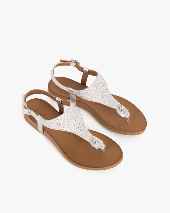 Białe sandały damskie nubukowe z kryształkami  103-0131-BIAŁE
