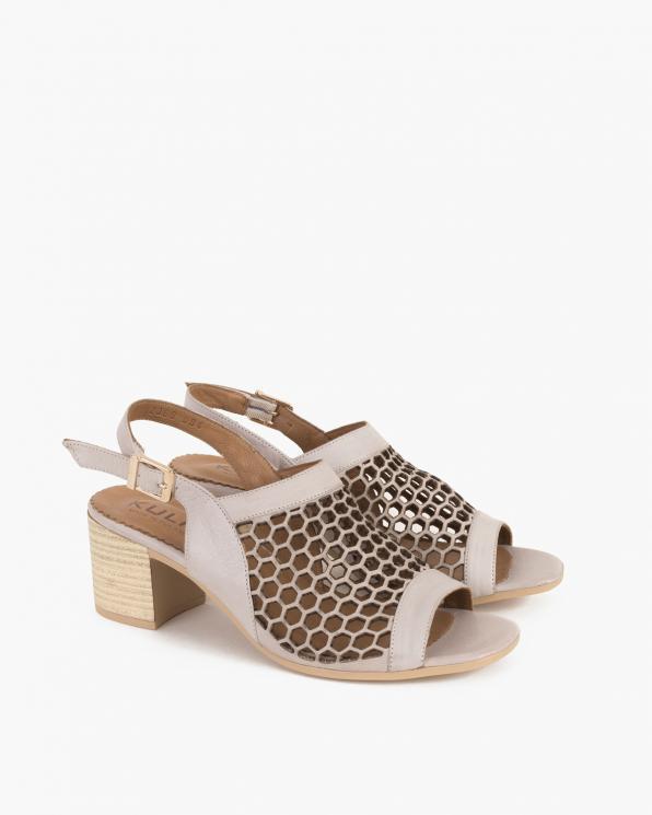 Beżowe sandały damskie skórzane na słupku  086-2369-084