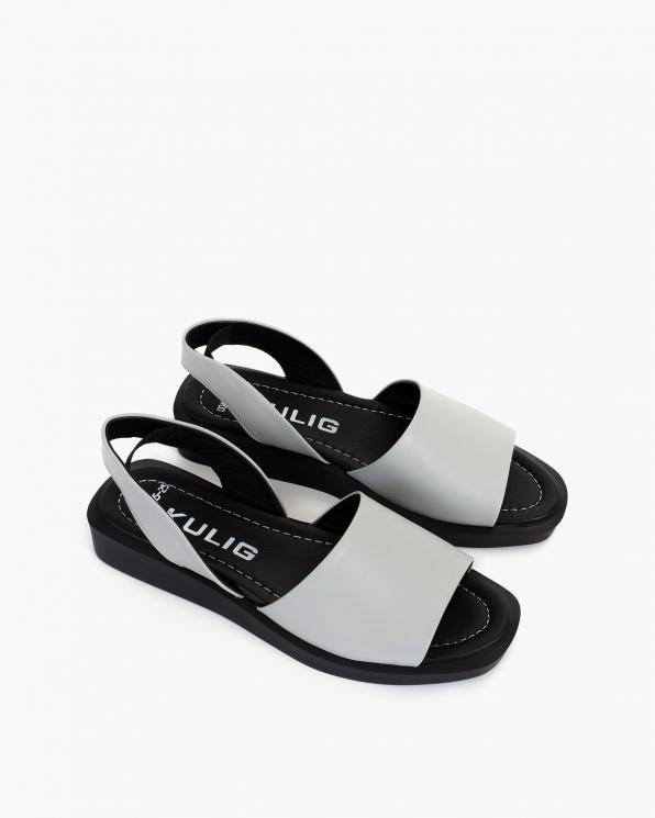 Szare sandały damskie skórzane  108-685-SZARY