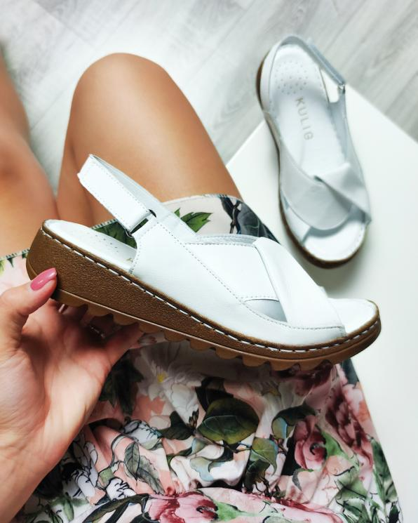 Białe sandały damskie skórzane  108-553-BIAŁY