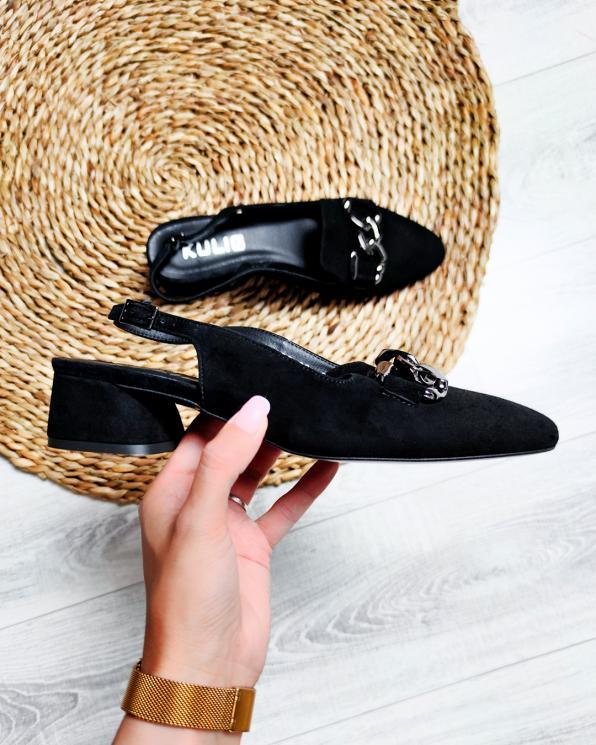 Czarne sandały damskie zamszowe z ozdobą  012-318-CZARNY