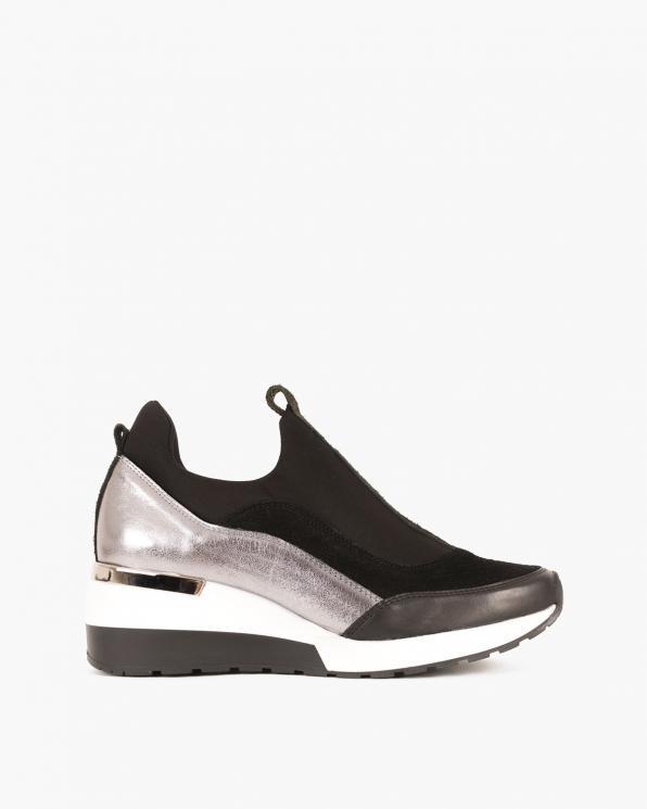 Czarno-srebrne sneakersy skórzane 046 903 CZ/SREB