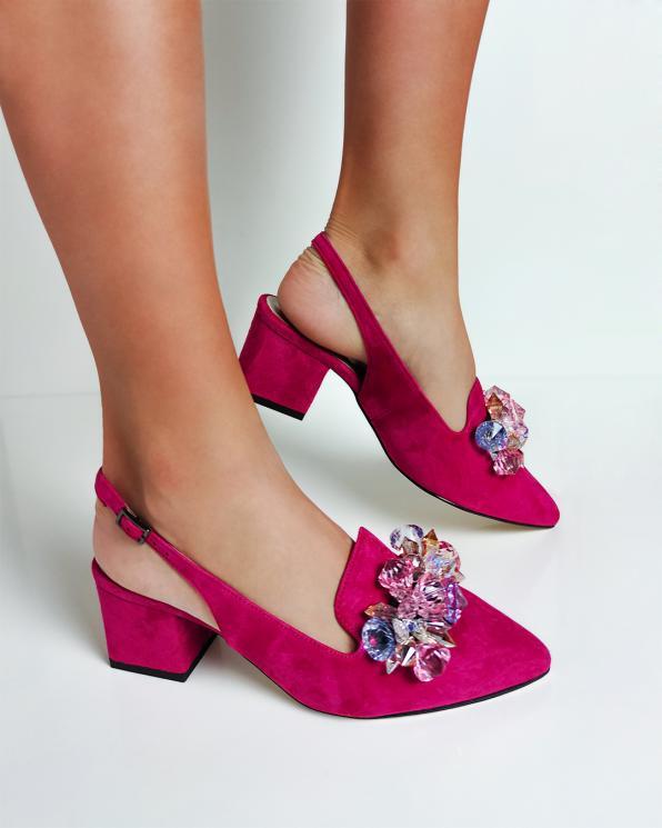 Fuksjowe sandały damskie zamszowe z kamieniami 012-666-FUKSJA