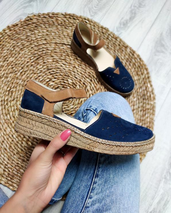 Granatowe sandały damskie nubukowe espadryle  110-826-GRANAT