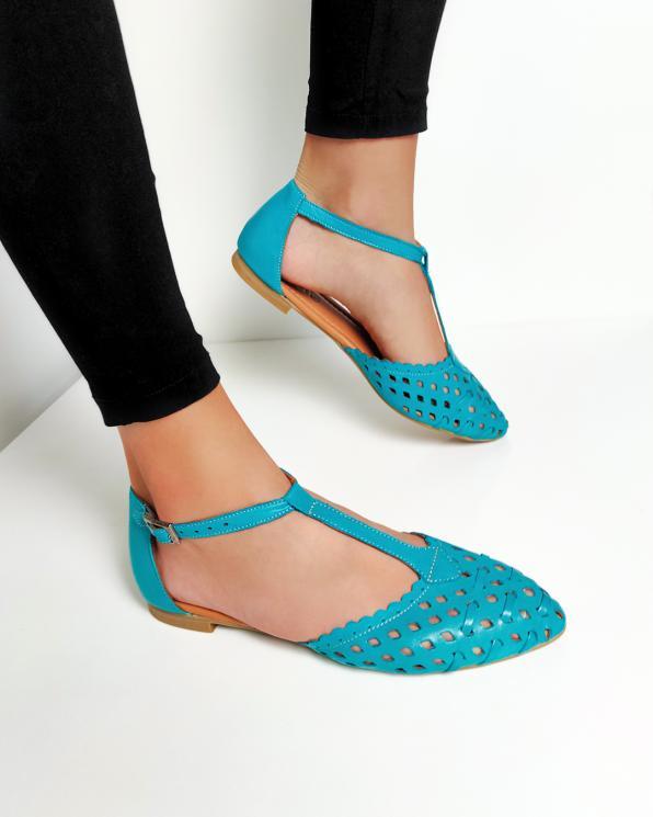 Turkusowe sandały damskie skórzane ażurowe  078-14-420-TURKU