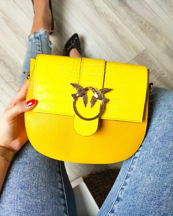 Żółta torebka damska skórzana z ptakami 107-KROKODYL-ŻÓŁTY